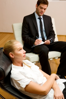 Therapy sessions. Male therapist with female client