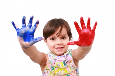 Young girl with hand paint