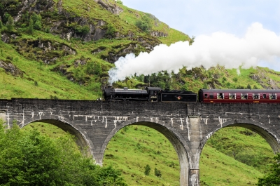 Steam Train On Glenfinnan Viaduct
