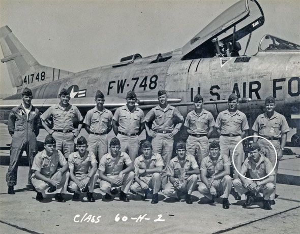 Captain Tom Bunn with his class and F-100
