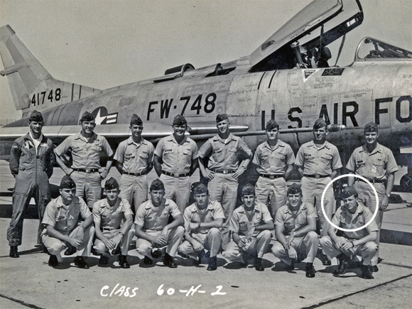 Captain Tom Bunn & his USAF class with USAF F-100